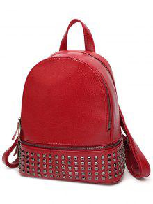 Rivet PU Leather Solid Color Backpack - Wine Red