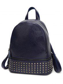 Buy Rivet PU Leather Solid Color Backpack - BLUE