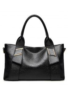 Buy PU Leather Solid Colour Metallic Tote Bag - BLACK