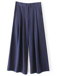 Solid Color High Waisted Culotte Pants - Cadetblue S
