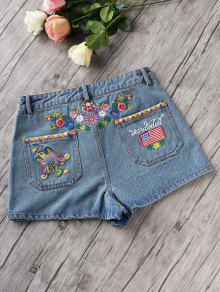 Denim Floral Embroidery Shorts LIGHT BLUE: Shorts L   ZAFUL