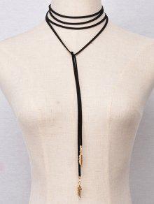 Multicapa De Imitación Collar De Plumas Gargantillas - Negro