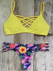 Cami Floral Amarillo Conjunto Bikini - S