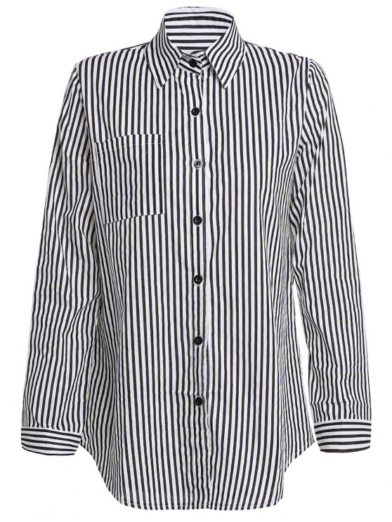 shops Stripe Turn Down Collar Long Sleeves Shirt - BLACK L