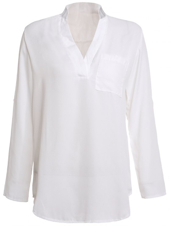 womens White Plunging Neck 3/4 Sleeve Blouse - WHITE M