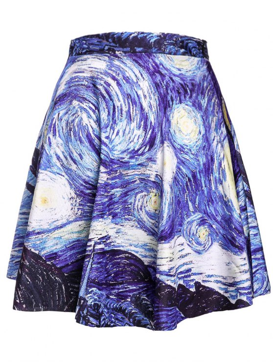 lady Pleated Digital Print Ball Gown Skirt - BLUE ONE SIZE(FIT SIZE XS TO M)