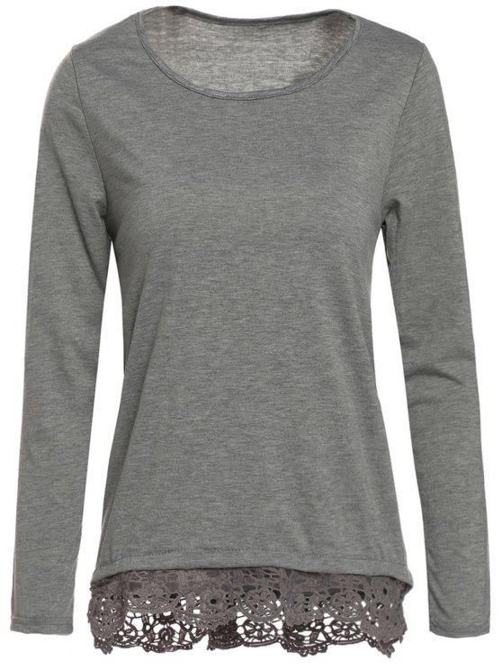 shops Gray Lacework Scoop Neck Long Sleeve T-Shirt - GRAY L