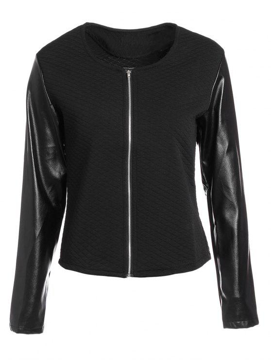 women's Zippered Faux Leather Jacket - BLACK S