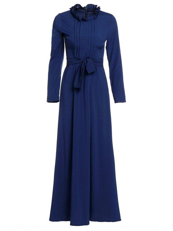 women Solid Color Stand Neck Long Sleeve Maxi Dress - PURPLISH BLUE M