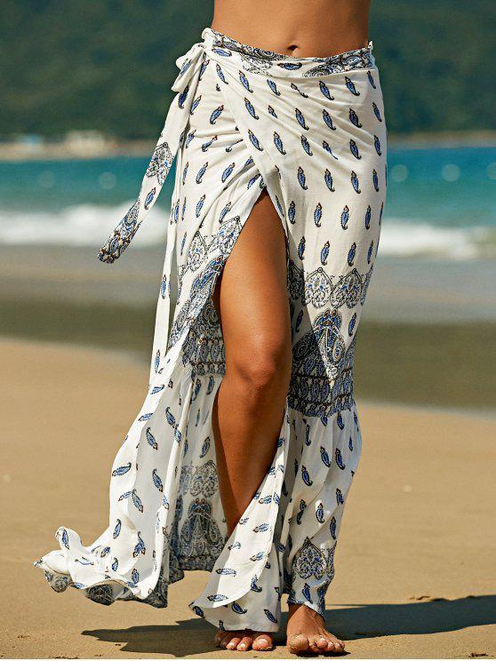 ladies Bohemian Print High Waist Skirt - WHITE XL