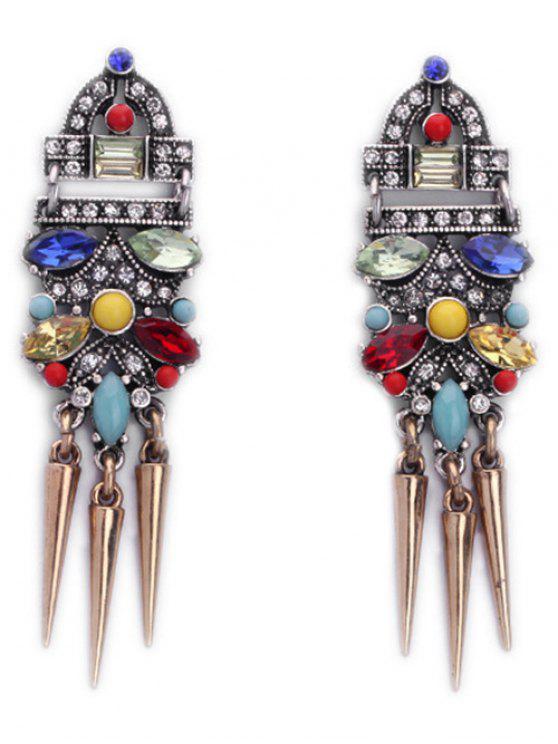 Faux Cristal Cone Rivet Boucles d'oreilles - Multicolore