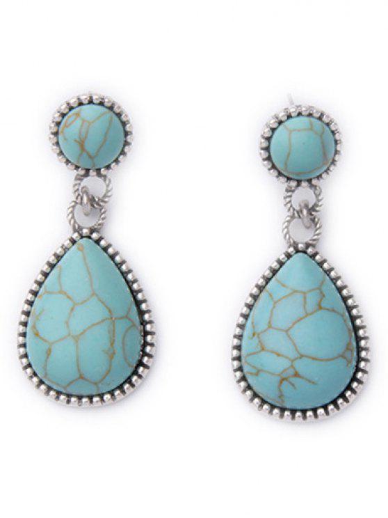 shops Faux Turquoise Water Drop Earrings - GREEN