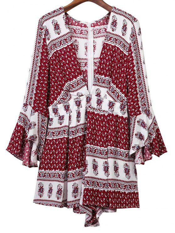 chic Ethnic Print Plunging Neck 3/4 Sleeve Romper - COLORMIX S
