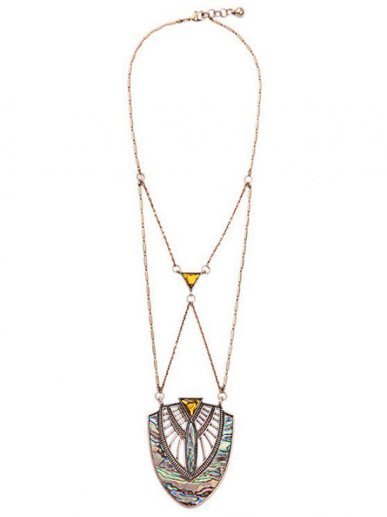 womens Faux Gem Crossed Pendant Necklace - COLORMIX