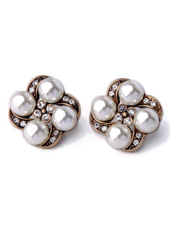 latest Rhinestone Faux Pearl Floral Earrings - WHITE