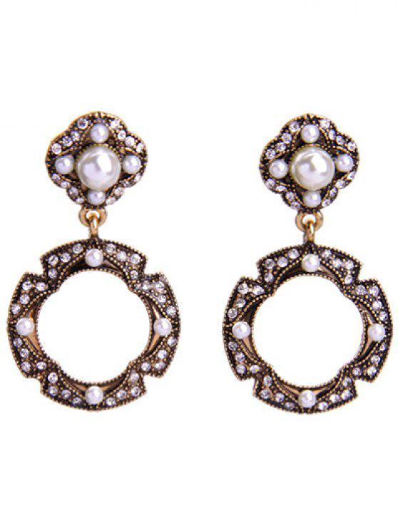trendy Rhinestone Faux Pearl Circle Earrings - GOLDEN