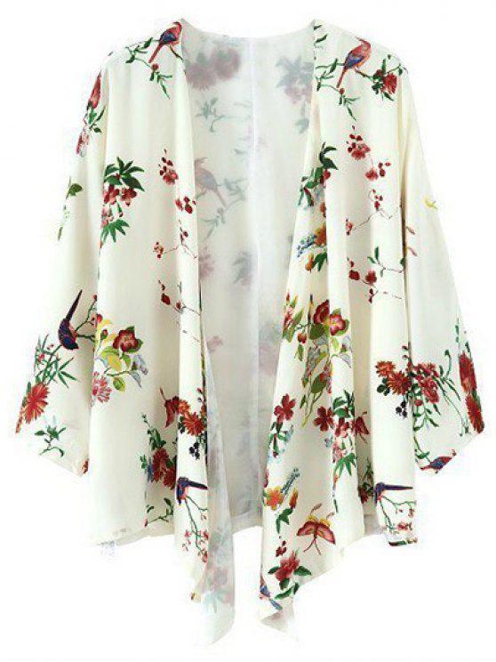lady Printed Chiffon Kimono - BEIGE S
