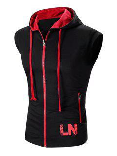 Hooded Zipper Design Waistcoat For Men - Black L
