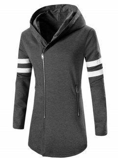 Zipper Design Stripes Hoodie Long Sleeve Jacket For Men - Deep Gray L