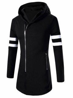 Zipper Design Stripes Hoodie Long Sleeve Jacket For Men - Black M