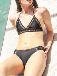 Solid Color Halter Crochet Bikini Set - Black S