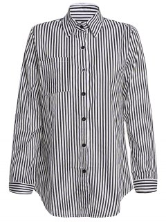 Stripe Turn Down Collar Long Sleeves Shirt - Black M