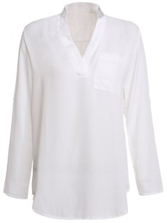 White Plunging Neck 3/4 Sleeve Blouse - White M