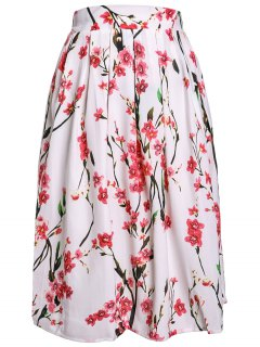 Peach Print Sweet Ball Gown Skirt - White 2xl