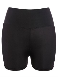 Yoga Shorts Style Active Taille élastique Skinny Black Women - [