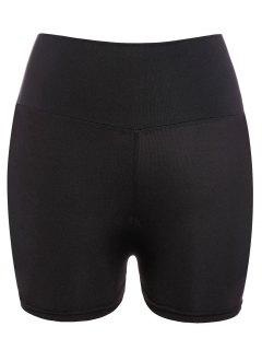 Yoga Shorts Style Active Taille élastique Skinny Black Women - Noir