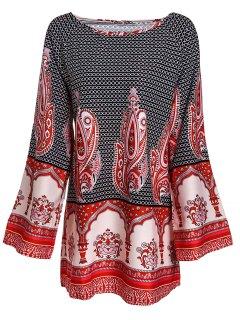 Round Collar Long Sleeve Dress - L