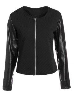 Zippered Faux Leather Jacket - Black M