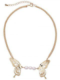 Faux Pearl Hollowed Butterfly Necklace - Golden