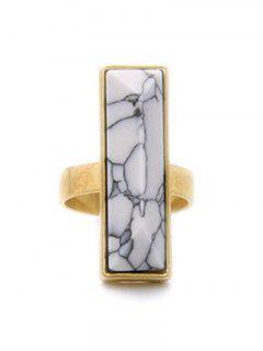 Rectangle Stone Ring - Golden