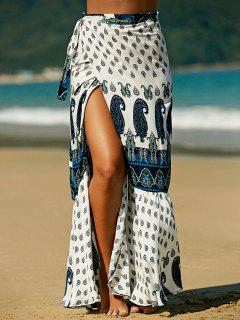 Ethnic Printed High Waist Skirt - Blue And White S