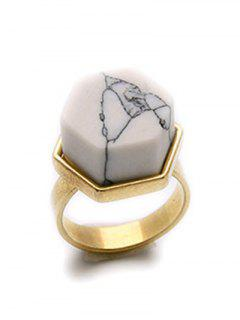 Natural Stone Hexagon Ring - Golden