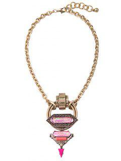 Faux Gem Triangle Circle Necklace - Golden