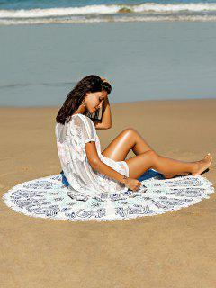 Fashionable Printed Convertible Round Shape Cape Cover Up - Blue