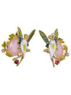 Faux Gem Butterfly Earrings