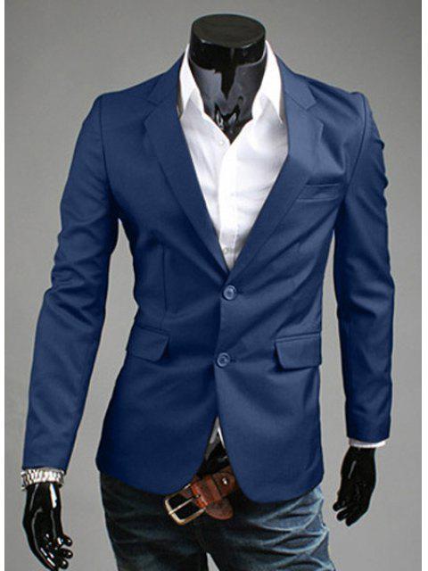 Turn-Down-Kragen Solid Color Slit Design Long Sleeve Blazer der Männer - Kadettenblau XL Mobile