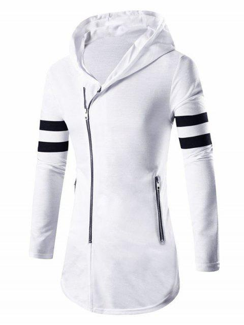 unique Zipper Design Stripes Hoodie Long Sleeve Jacket For Men - WHITE M Mobile