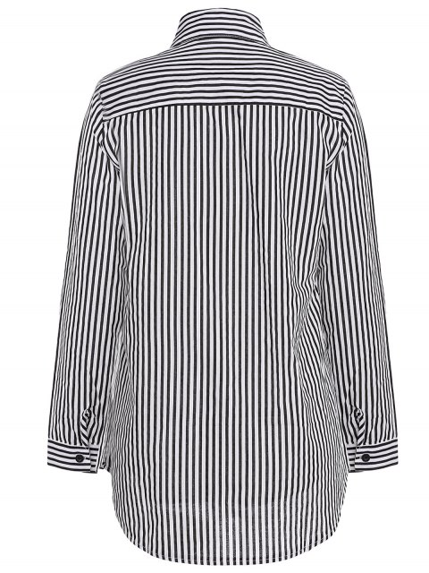 Stripe Turn Down Collar Chemise manches longues - Noir M Mobile