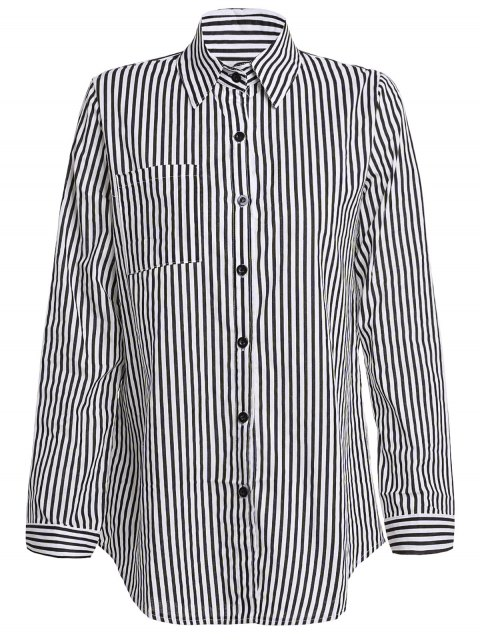 Stripe Turn Down Collar camisa de manga larga - Negro M Mobile