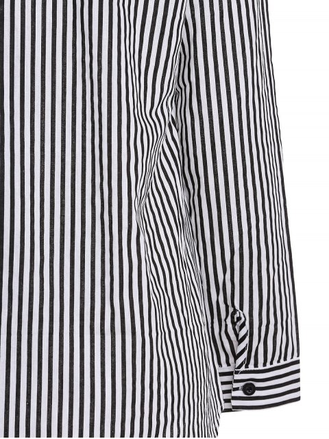 Stripe Turn Down Collar Chemise manches longues - Noir S Mobile