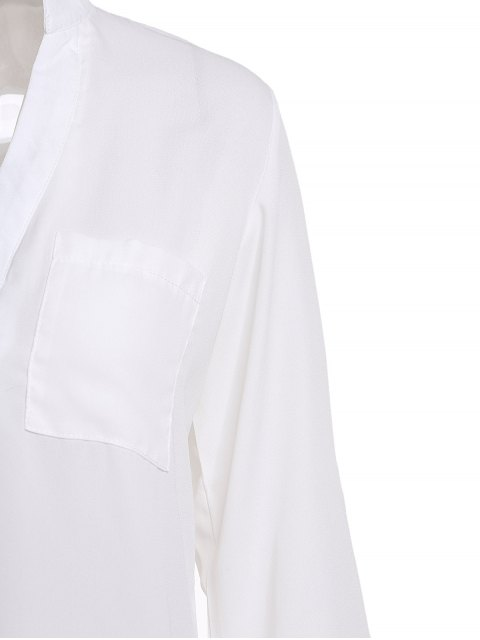 trendy White Plunging Neck 3/4 Sleeve Blouse - WHITE S Mobile