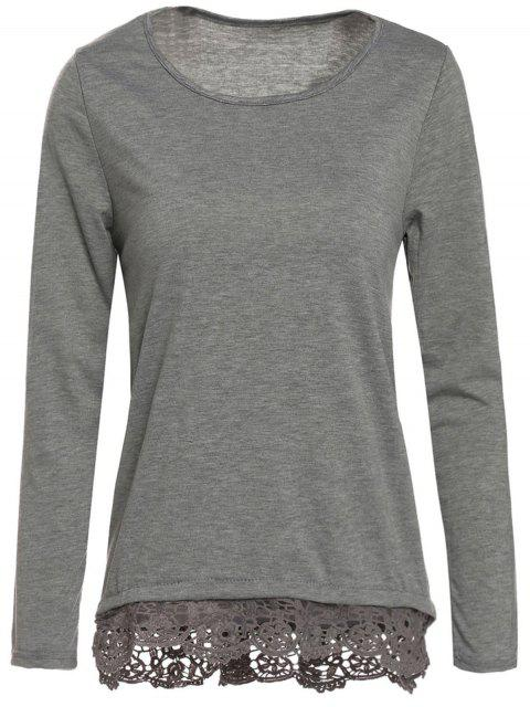 outfits Gray Lacework Scoop Neck Long Sleeve T-Shirt - GRAY S Mobile