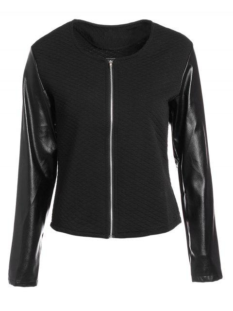 ladies Zippered Faux Leather Jacket - BLACK M Mobile