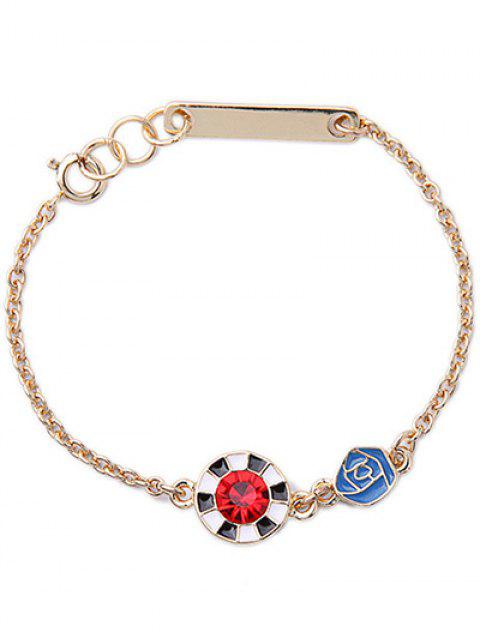 ladies Round Rhinestone Rose Bracelet - GOLDEN  Mobile