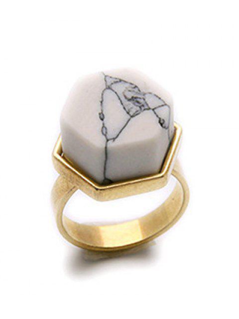 online Natural Stone Hexagon Ring - GOLDEN  Mobile