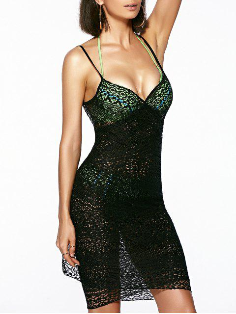 outfit Guipure Backless Openwork Bathing Suit Cover-Ups - BLACK ONE SIZE(FIT SIZE XS TO M) Mobile